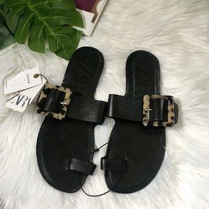 Zara Leather Tortoise Shell Sandals